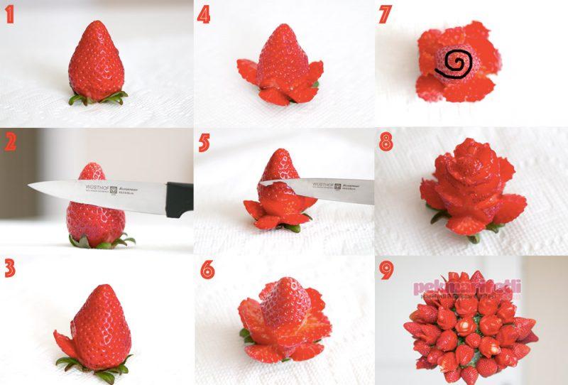 Hogyan készíts eperből tökéletes rózsa formájú tortadíszt