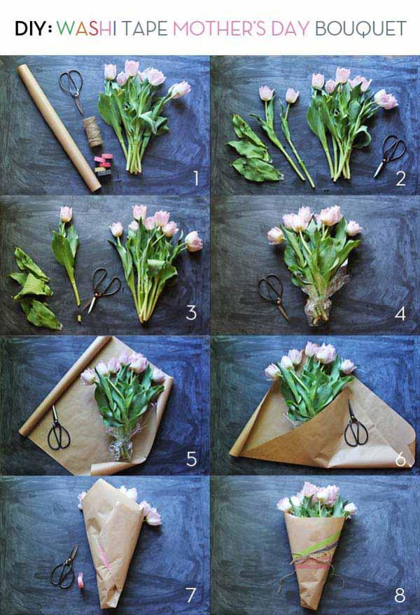 7. Fogjunk össze egy szép virágcsokrot maradék csomagoló papírral