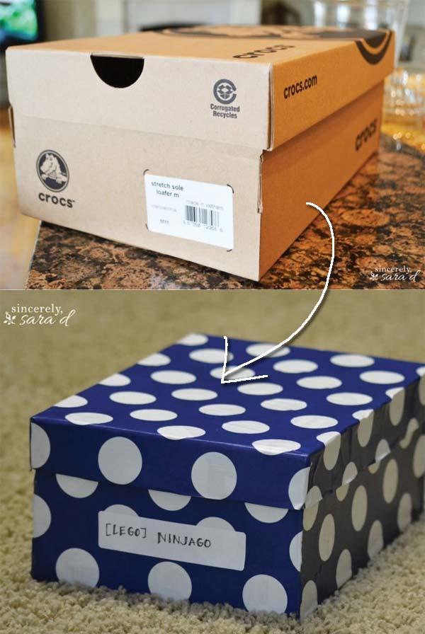 9. Változtassunk egy régi cipős dobozt egyedi tárolóvá.