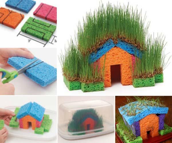 DIY mini szivacsos fűház