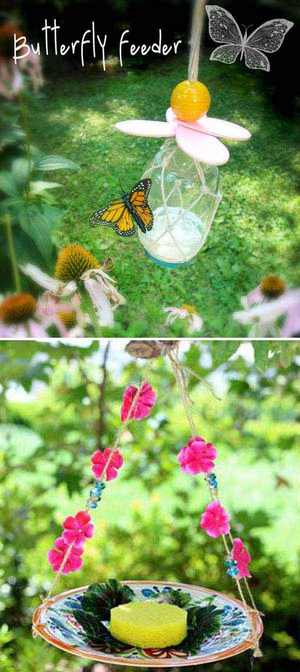 Tölts meg egy befőttes üveget cukros vízzel, hogy elkészíthess egy különleges pillangó etetőt. (Mielőtt neki állnánk, jó ha elsajátítunk néhány csomózási technikát, hogy egyedibb legyen, a végeredmény
