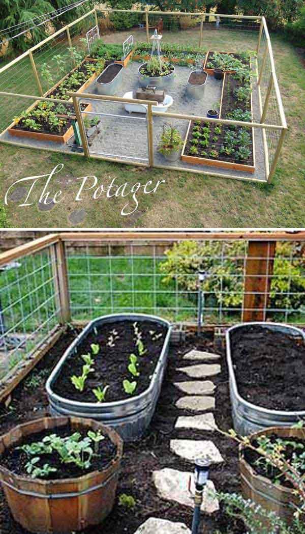 1. Használj fém vödröt tartályként a zöldségeskerthez, és alakíts ki egy utat a zöldségek között