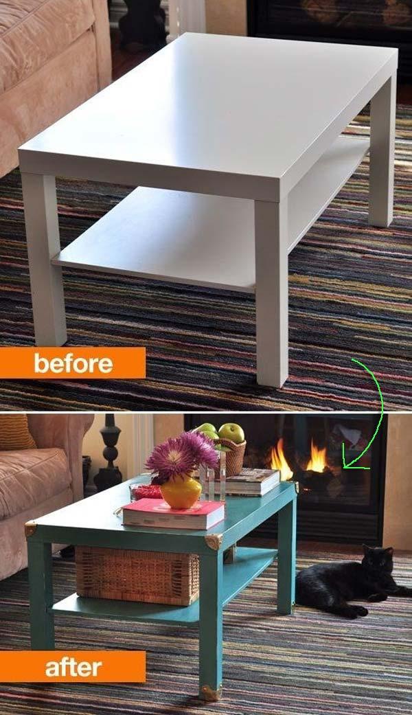 2. Egy sima dohányzó asztal, egy kis festékkel és pár réz sarokkal csodás asztalkává varázsolható