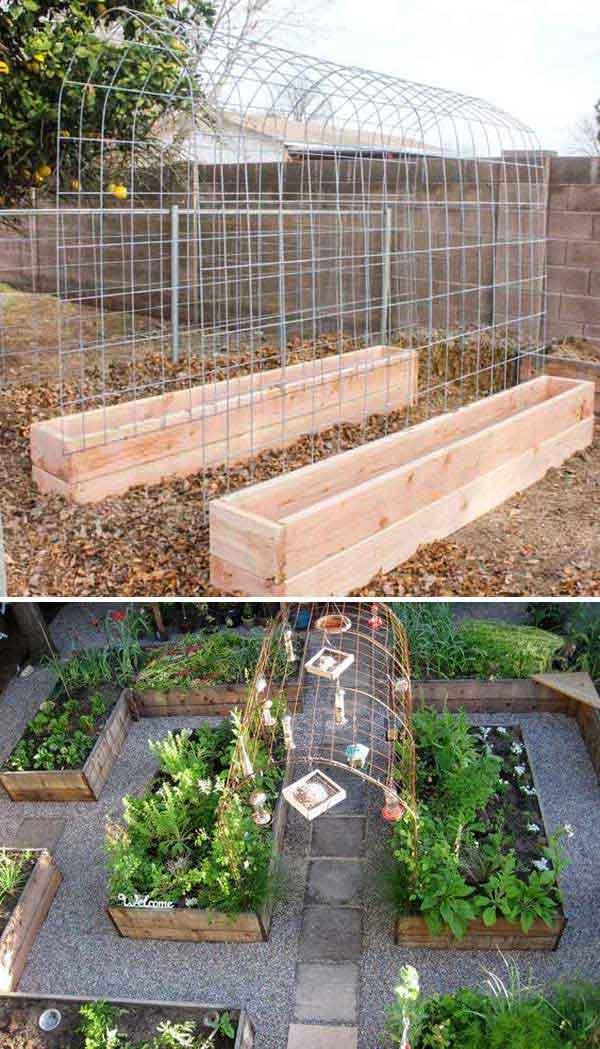 2. Ha uborka, dinnye, vagy esetleg bab termesztését tervezed, építs fel egy rácsot és egy felemelt kerti doboz kombinációt, hogy egy bizonyos ponton támogatást kapjon