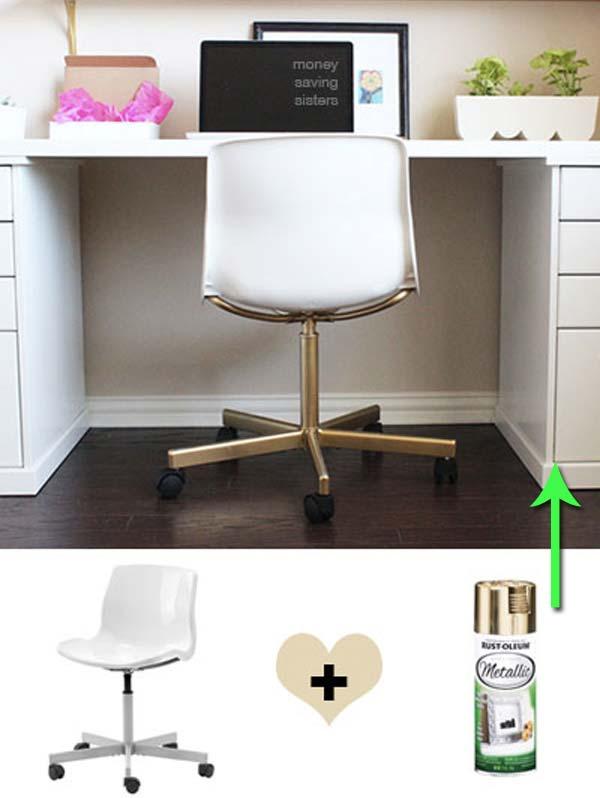 4. Igazítsd a dolgozó szoba stílusához ezt a pár filléres IKEA széket egy kis arany spray segítségével