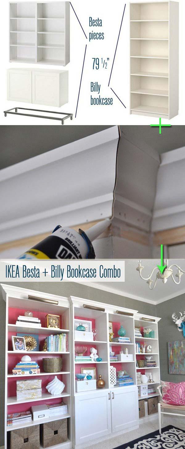 5. Alakitsd át ezt az IKEA polcrendszert, ezzel a Billy könyvespolccal egy olyan fali egységgé, ami drágább hatást kelt