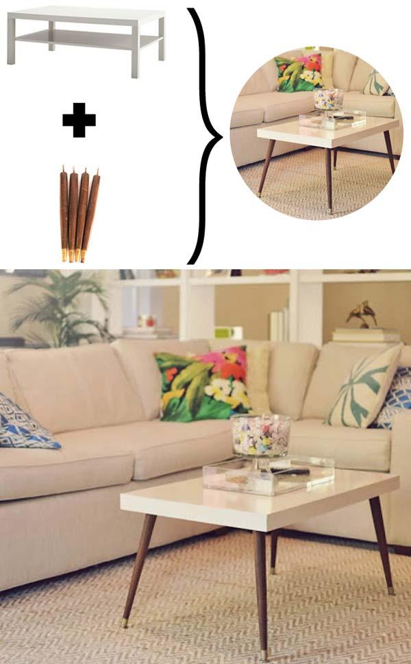 6. Cserélje le az egyszerű IKEA lábakat elegáns kúp alakú lábakra, hogy egy ízléses dohányzó asztalt kaphass végeredményül