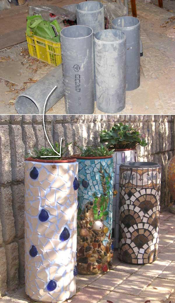 7. PVC csőből és csempéből készült egyedi mozaikos virágtartók