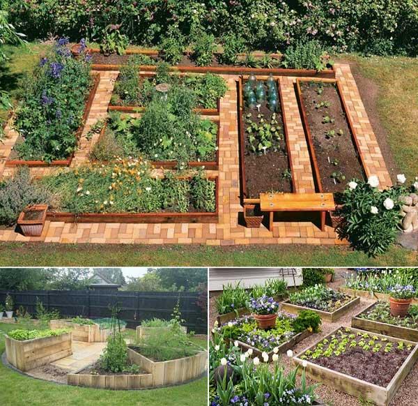 9. Fektesd le a talajt vörös téglával vagy kavicsokkal, és alakíts ki cédrus és fenyő deszkákból egy kertet, és utána ültesd el a zöldségeket