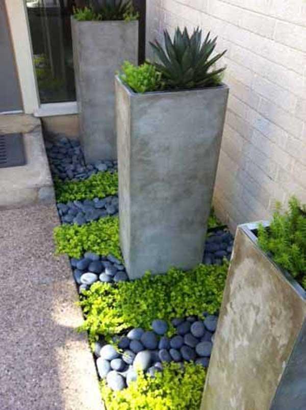 Bejárathoz egy fantasztikus modern benyomást keltő válogatott sötét kövek telepítése