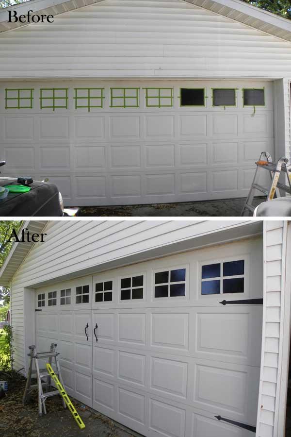 Festett ablakokat garázsajtóra