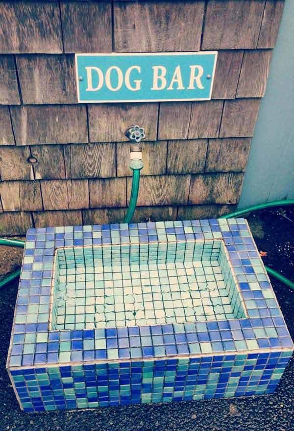 Mozaik csempéből kutyabár