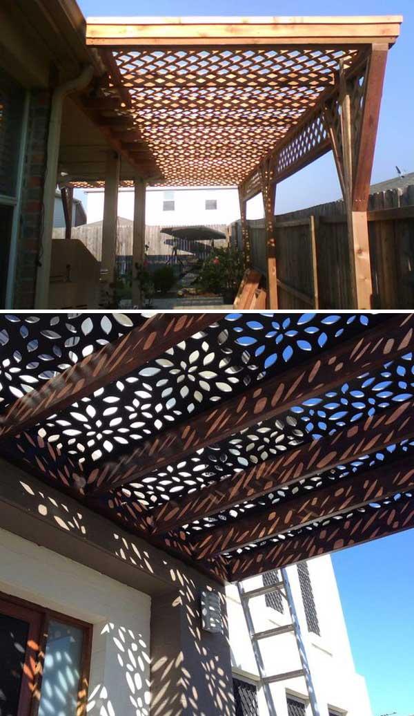 Pergolából készült tető, bámulatos rácsos árnyékkal