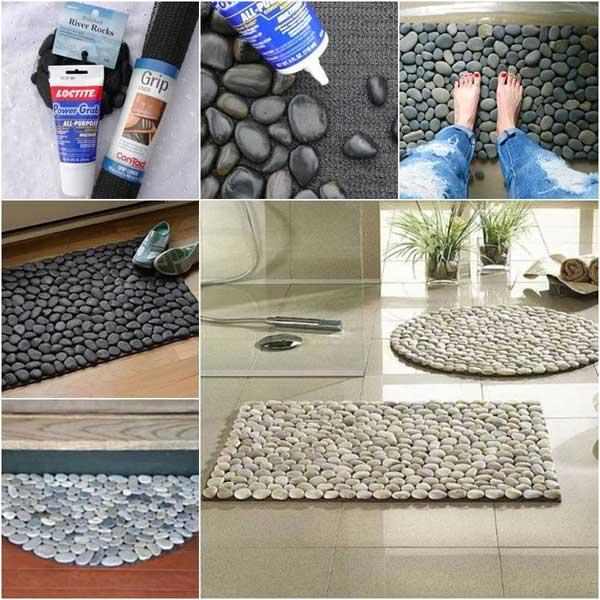 Válogatott csiszolt folyami kövekből fürdő szőnyeg
