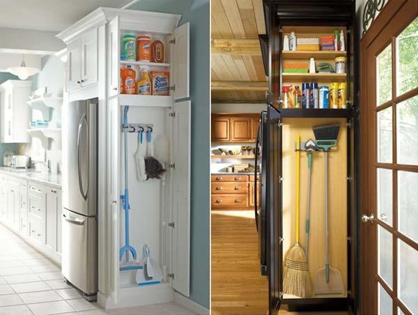 27. Tegyél egy keskeny szekrényt konyhába, a tisztítóeszközök tárolásához