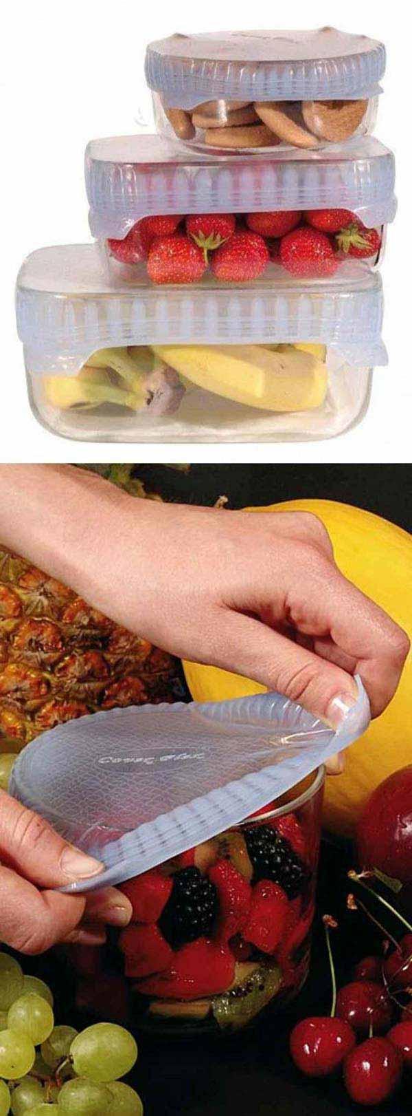 5. Alakíts át bármilyen edényt egy biztonságos tárolóvá ezekkel a nyújtható fedelekkel