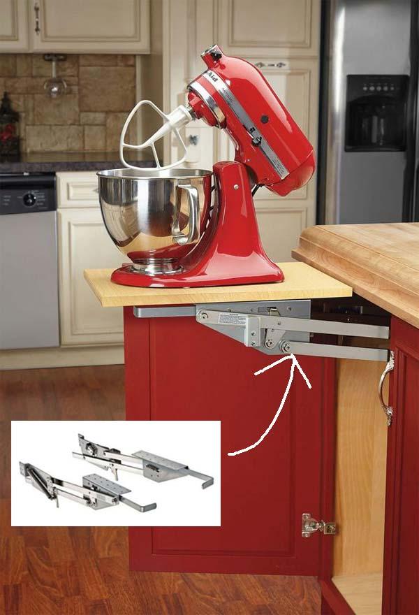 8. Szerelj fel egy készülék emelőt a szekrény belsejében, hogy a konyhai eszköz elővétele kevésbé legyen nehéz