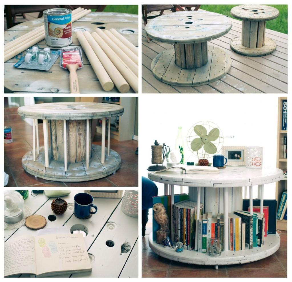 9. Óriás orsóból rusztikus asztalka
